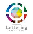 lettering d rainbow alphabet design vector image