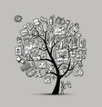 school of drawing art tree for your design vector image
