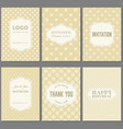 template collection in vintage pattern with badges vector image