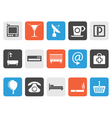 Flat Hotel and motel icons vector image