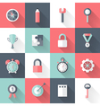Business flat icons set long shadows vector image