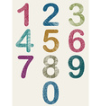Hand drawn and sketched color numbers set vector image
