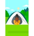 Woman lying in tent vector image vector image