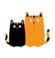 Cute red orange cartoon cat boy and black kitty vector image