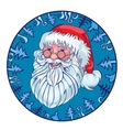 Cheerful Santa in a blue circle from fir-trees vector image