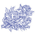gun and roses tattoo hand drawing style picture vector image