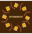 Oktoberfest Beer glass mug and sausage Round vector image