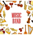 Musical instruments placed around text Music Band vector image vector image