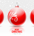 Red baubles with white decor - Christmas design vector image vector image