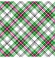 Green white pink tartan diagonal plaid seamless vector image