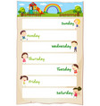 days of the week poster with happy children vector image