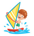 of kid windsurfing vector image