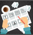 Storyboarding process hand vector image