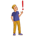 Positive cartoon man with exclamation mark vector image