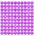 100 folk icons set purple vector image