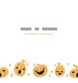 Smiling Halloween pumpkins horizontal border vector image