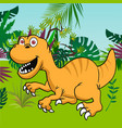 cute dinosaur with tropical forest background vector image