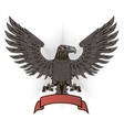 Eagle with wings and red ribbon vector image