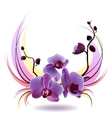 greeting card with orchids bouquet vector image