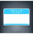 Blue blank tag sticker HELLO my name is vector image
