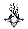 Human skull with gun vector image