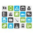 Silhouette Switzerland industry and culture icons vector image