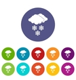 Cloud and snowflakes set icons vector image