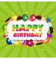 Birthday Cloud With Green Sunburst vector image