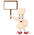 Strong bone cartoon character holding blank sign vector image