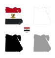 Egypt country black silhouette and with flag on vector image