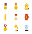 accolade icons set cartoon style vector image