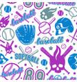 Baseball and softball seamless pattern vector image