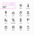 fashion concept beauty - line design icons set vector image