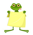 Goggle-eyed frog with a yellow towel vector image