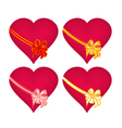 Red hearts with ribbon Valentines day vector image