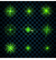 Shine green stars glitters sparkles vector image