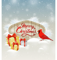Christmas background with gifts and bird vector image