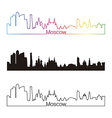 Moscow skyline linear style with rainbow vector image