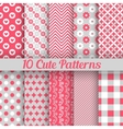 10 Cute different seamless patterns vector image