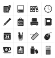 Black Business and office equipment icons vector image