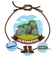 Climbing sign and moutain view vector image vector image