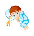 Baby boy and giraffe toy vector image