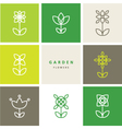 Flowers - set of flowers - decorative design line vector image
