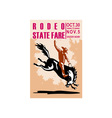 rodeo cowboy riding bucking bronco vector image