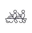 teamteamworkcanoe line icon sign vector image