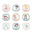 Fairy Tale Characters Girly Stickers In Round vector image