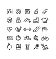 Fitness health sport outline icons vector image