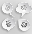 Globe and gears White flat buttons on gray vector image