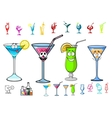 Happy cartoon cocktails with straws characters vector image vector image