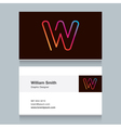 business card letter W vector image